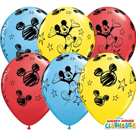 """11"""" Printed Latex Balloons - Mickey Mouse, Qualatex 18688, Pack of 25 Pieces"""