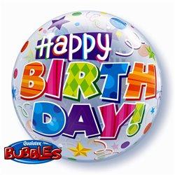 "Happy Birthday Bubble Balloon - 22""/56cm, Qualatex 30808, 1 piece"