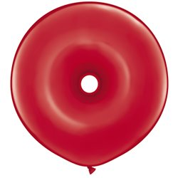 """Red GEO Donut Latex Balloons - 16"""", Qualatex 39748, Pack of 50 pieces"""