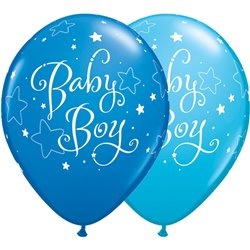 "Baloane latex 11""/28cm - Baby Boy stelute, Qualatex 51787, Set 25 buc"