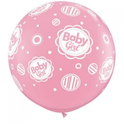 Baloane latex Jumbo Baby Girl pentru botez - 3', Qualatex 18510, Set 2 buc