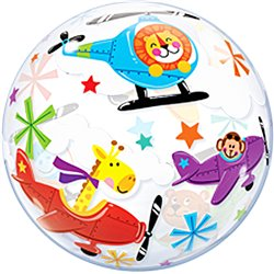 "Balon Bubble 22""/56cm Animalute in avion, Qualatex 25279"