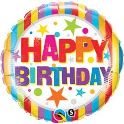 "Balon Folie 18""  Happy Birthday Stelute, Qualatex 16770"