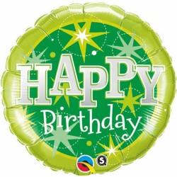 "Balon Folie 18"" Happy Birthday Verde, Qualatex 37924"