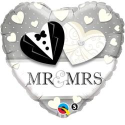 "Balon Folie 18"" Inima Mr & Mrs, Qualatex 15711"