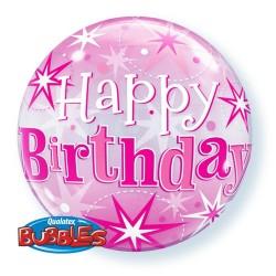 "22"" Single Bubble Birthday Pink Starburst Sparkle, Qualatex 43121"