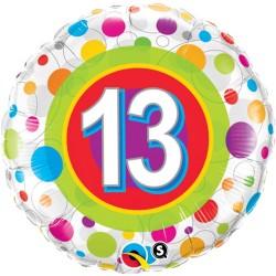 """Balon Folie 18"""" Numarul 13 cu Buline, Qualatex 41132"""