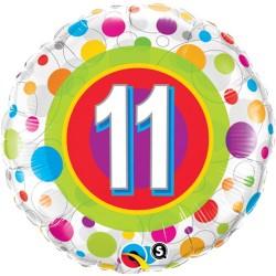 """Balon Folie 18"""" Numarul 11 cu Buline, Qualatex 41124"""