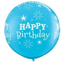 Balon Jumbo 91 cm Albastru Happy Birthday, Qualatex 43543