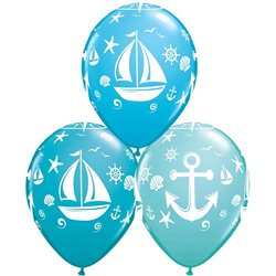 "11"" Nautical Sailboat And Anchor Latex Balloons, Qualatex 44796, Pack of 25pieces"