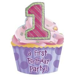 Invitatii de petrecere 1st birthday fetita, Amscan 993124, Set 8 buc