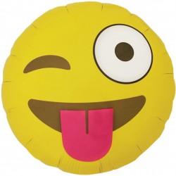 Balon folie 45 cm EMOJI Winking scoate limba, Northstar Balloon 01273