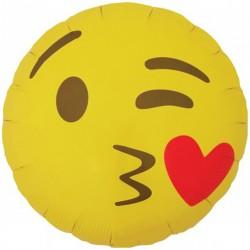Balon folie 45cm EMOJI Kissing Heart, Northstar Balloon 01274