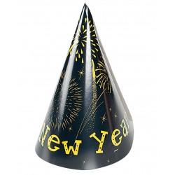 Coifuri petrecere Revelion cu Happy New Year, 20 cm, Radar 45486, Set 6 coifuri