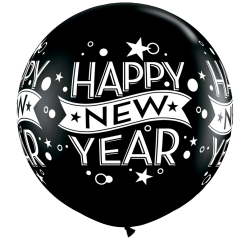 Baloane latex Jumbo 3 ft inscriptionate Happy New Year, Qualatex 19175 , set 2 buc