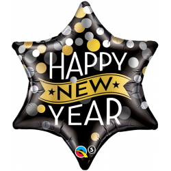 Folie 56 cm Happy New Year Star, Qualatex 19035