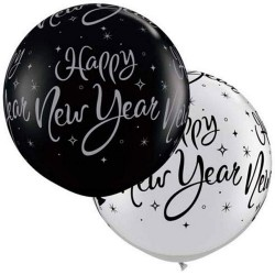 Baloane latex Jumbo 30'' inscriptionate Happy New Year, Qualatex 40192, set 2 buc