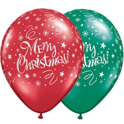 "Baloane latex 11"" inscriptionate  Merry Christmas, Qualatex 14610"