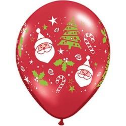 "11""Santa & Christmas Tree Latex Balloons, Qualatex 40571"