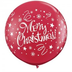 Baloane 90cm rosu inscr Merry Christmas, 74666, 2buc