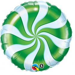 "Round Candy Swirl Green Foil Balloon, Qualatex, 18"", 64333"