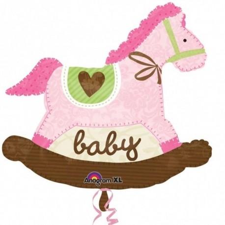 Baby Pink Rocking Horse SuperShape Foil Balloon, 74x66 cm, 24977