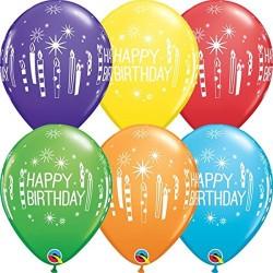 Baloane latex 11''/28cm Happy Birthday - diverse culori, Qualatex 52963