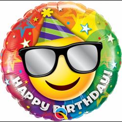 Balon Folie 45 cm Happy Birthday Smiley Face, Qualatex 49057