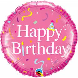 Balon Folie 45 cm roz Happy Birthday, Qualatex 49439