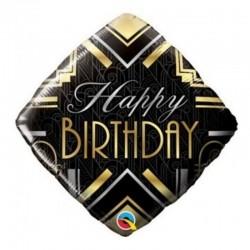 Balon Folie 45 cm Romb Happy Birthday, Qualatex 49100
