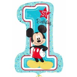 Balon Folie Figurina Mickey Mouse 1st Birthday, 71 x 53 cm, Amscan 34343, 1 buc