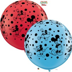 Balon Latex Jumbo 3 ft Mickey Disney, Qualatex 49576, set 2 bucati