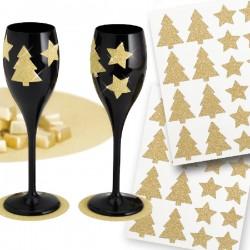 Stickere aurii stelute/brazi cu sclipici - 3 cm, Radar 45516, set 40 bucati