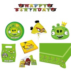 Pachet party Angry Birds King Pig, Radar Green, set 8 bucati