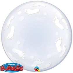 Balon Deco Bubble Baby Footprints 24''/61cm, Qualatex 49459, 1 buc