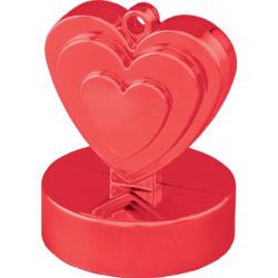 Greutate pentru baloane forma inima - rosu, 110 g, Qualatex 12475