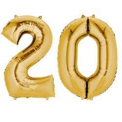 Pachet baloane folii mari numarul 20 auriu - 86cm, Amscan 33867