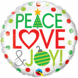Balon Folie 45 cm Peace, Love & Joy, Qualatex 52099