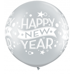 "Balon latex Jumbo 30"" inscriptionat Happy New Year, Qualatex 19173, 2 buc"
