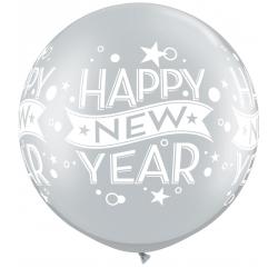 "Balon latex Jumbo 30"" inscriptionat Happy New Year, Qualatex 19173"