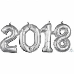 Pachet baloane folii mari 2018 argintiu - 50 x 22 cm, Amscan 36519