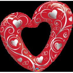 Folie fig inima sparta rosie 107 cm, Qualatex 16441