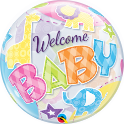 Bubble 56 cm / 22'' Welcome baby, Qualatex 25898