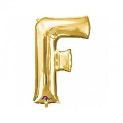 Balon Folie Litera F Auriu - 22 x 33cm, Amscan 33022