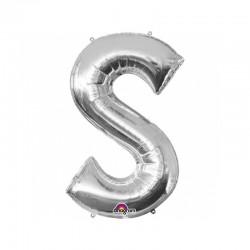 Balon Folie Litera S Argintiu - 20 x 33 cm, Amscan 33048