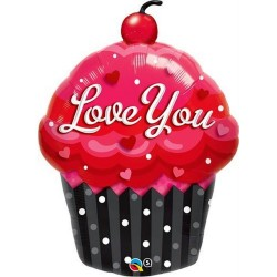 Balon folie figurina Love You Cupcake - 51x74cm, Qualatex 16352