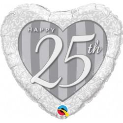 Balon folie inima Happy 25, 45 cm, Qualatex 49109
