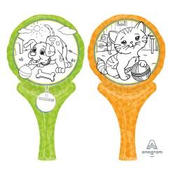 Balon mini folie Inflate-a-Fun Pets, cu accesorii pentru colorat, Amscan 35018, set 3 bucati
