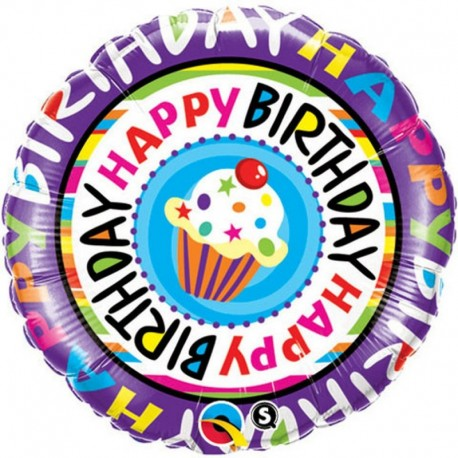 Balon Folie 45cm Happy Birthday Briosa, Qualatex 41635