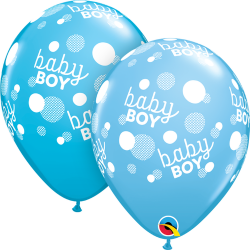 "Baloane latex 11""/28cm Blue - Baby Boy, Qualatex 55988"